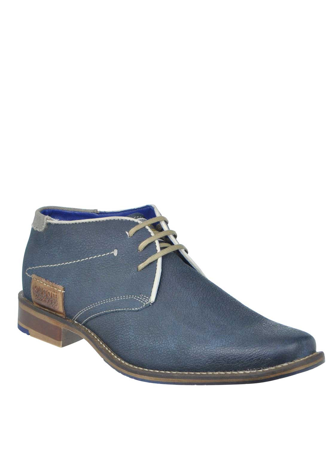 Bugatti Leather Lace Up Desert Boot, Navy