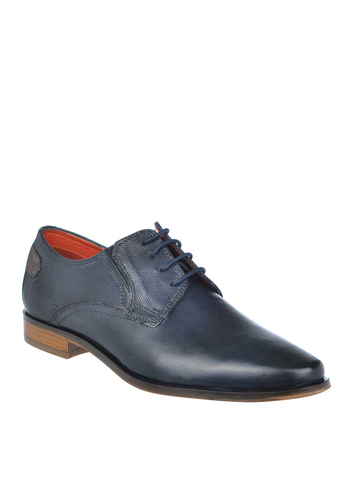 Bugatti Textured Lace Up Leather Shoes, Navy