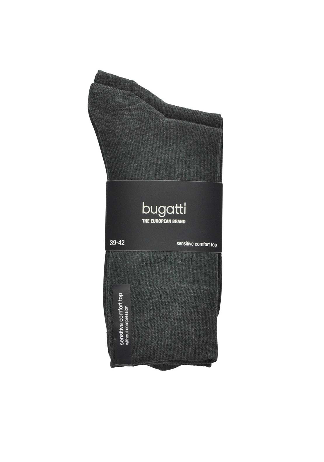 Bugatti Mens 2 Pack Soft Cotton Comfort Top Socks, Anthracite Grey