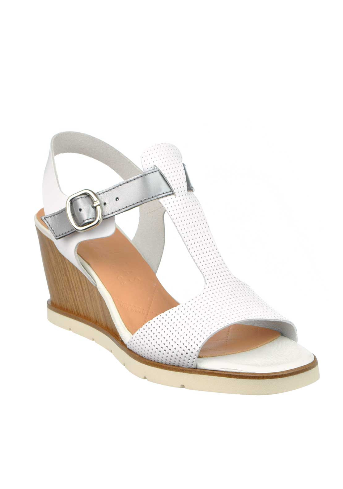 Hispanitas Leather Perforated T-Bar Wedged Sandals, White