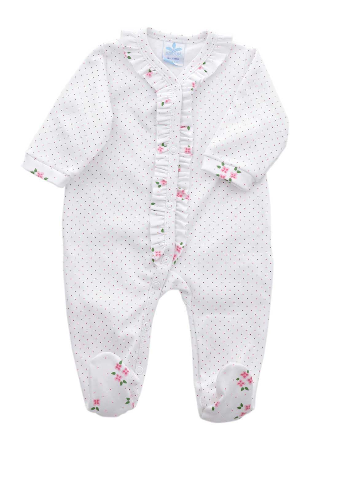 Sardon Baby Girls Polka Dot Boxed All in One Grow, White