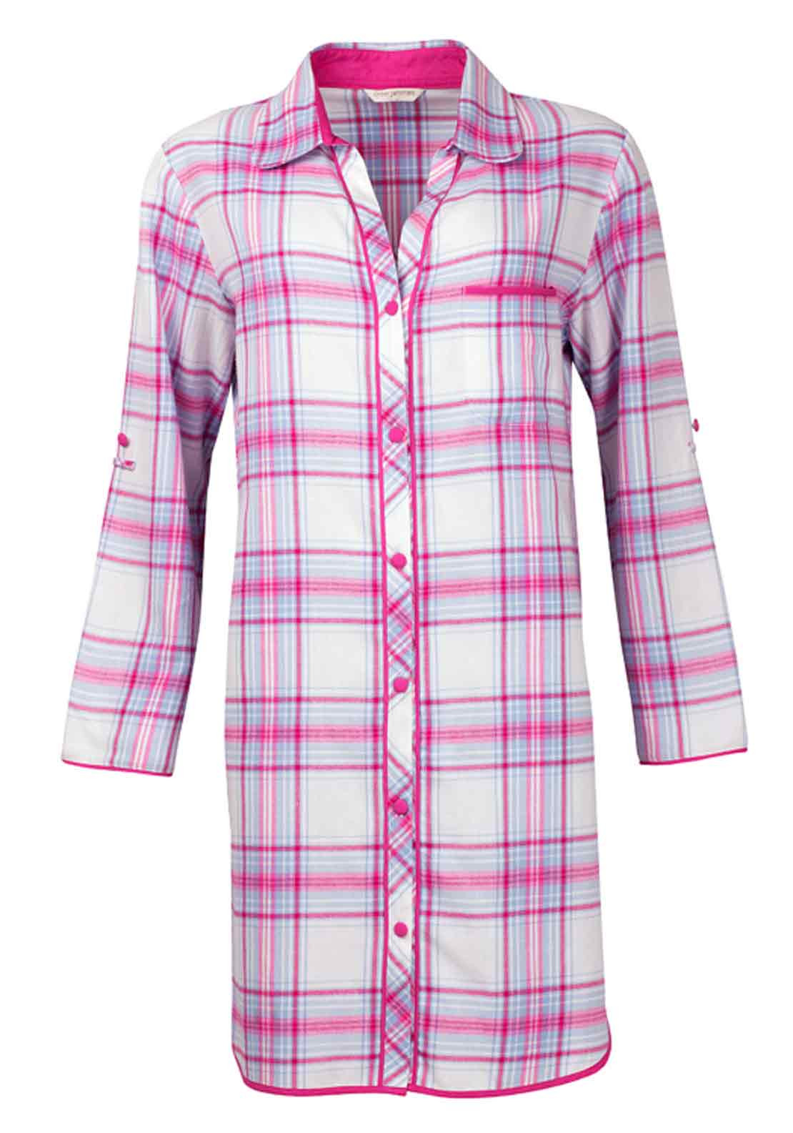 Cyberjammies Floral Fun Checked Brushed Cotton Nightshirt, Pink and Blue