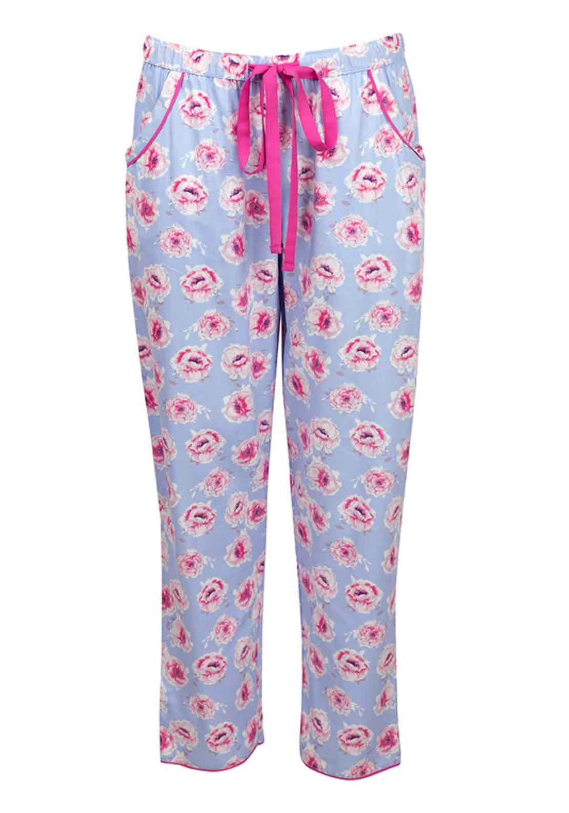 Cyberjammies Floral Fun Floral Print Pyjama Bottoms, Blue Floral