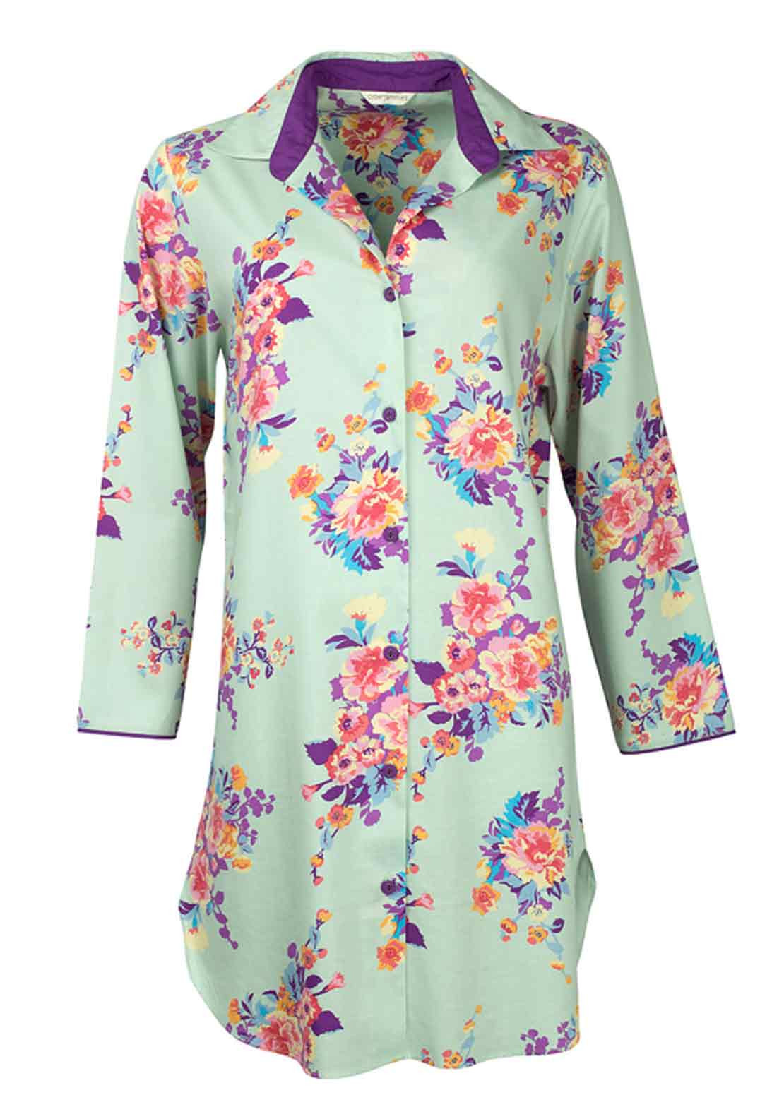 Cyberjammies Waterlily at Dusk Floral Print Nightshirt, Aqua Floral
