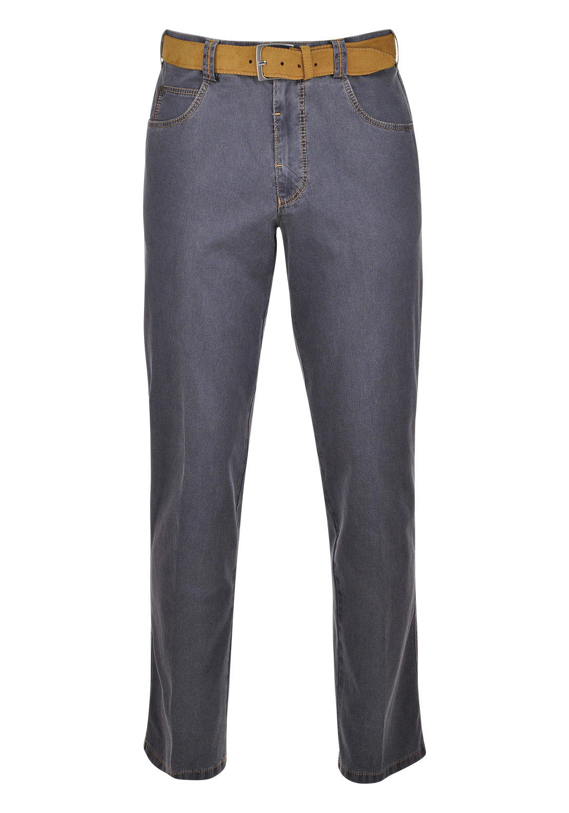 Meyer Mens Diego Two Tone Cotton Stretch Trouser, Grey