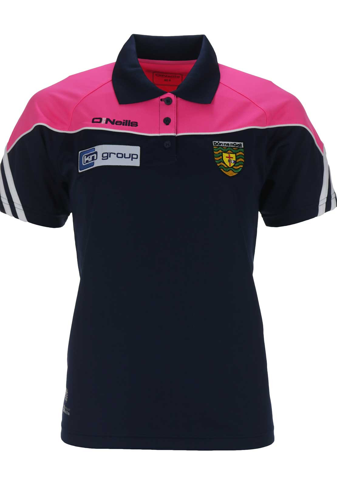 O'Neills Donegal GAA Womens Ormond Polo Shirt, Navy and Pink