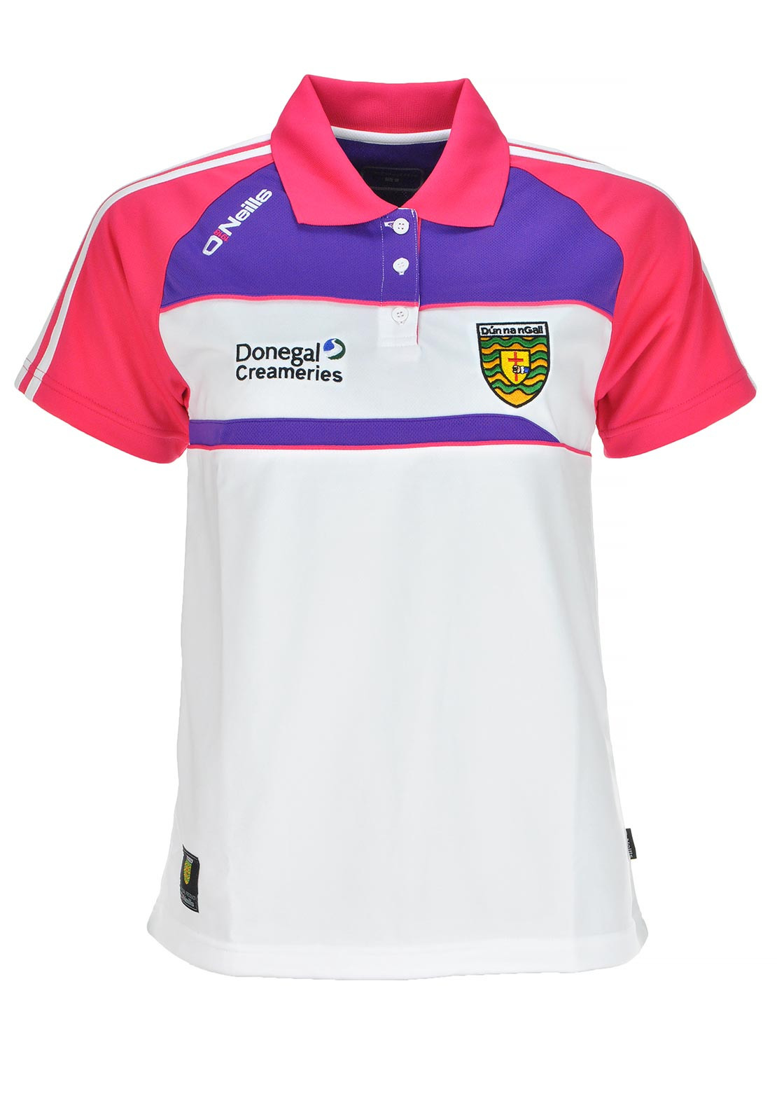 O'Neills Donegal GAA Womens Shauna Short Sleeve Polo Shirt, White