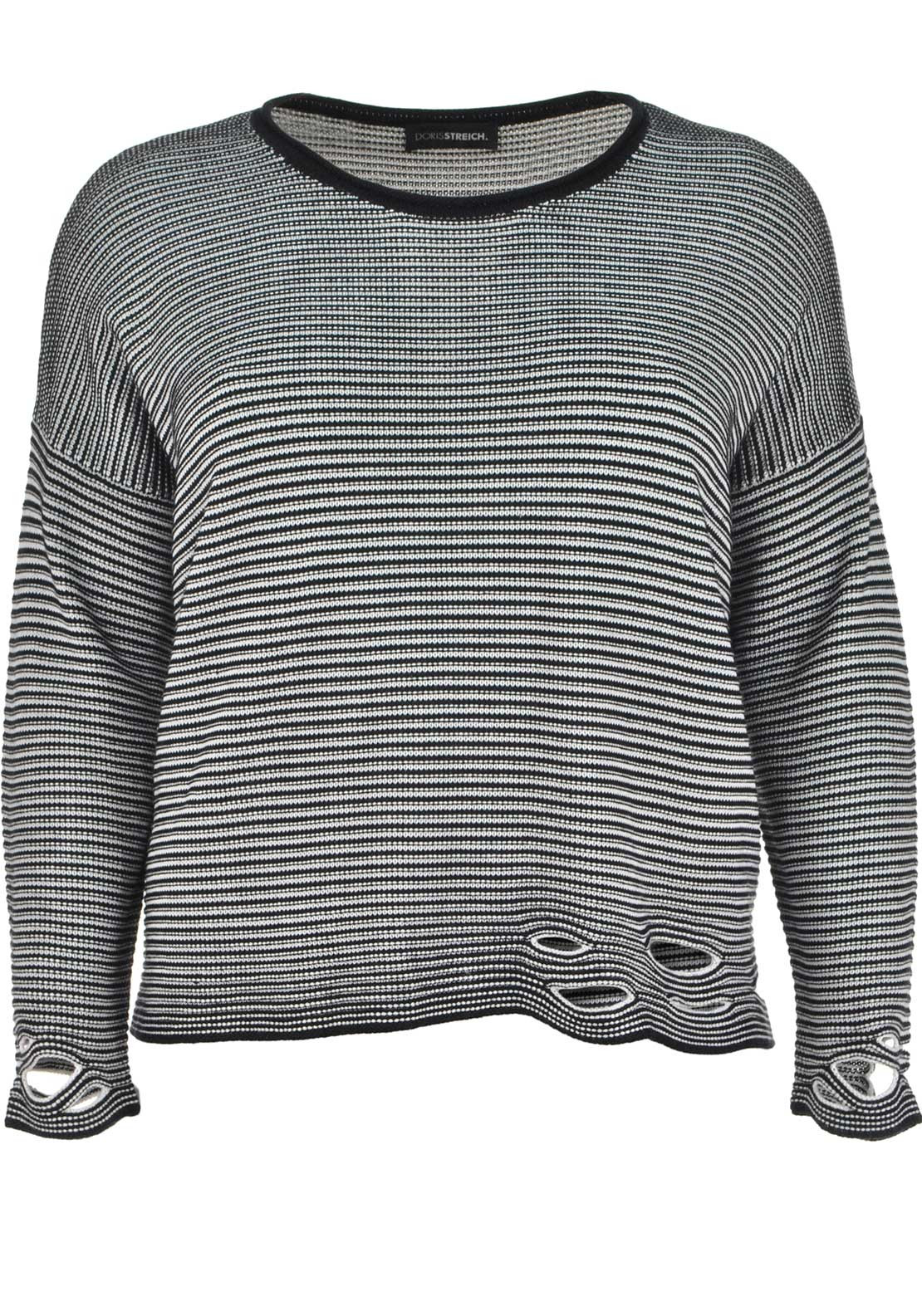 Doris Streich Striped Fine Knit Oversize Sweater Jumper, Navy and White