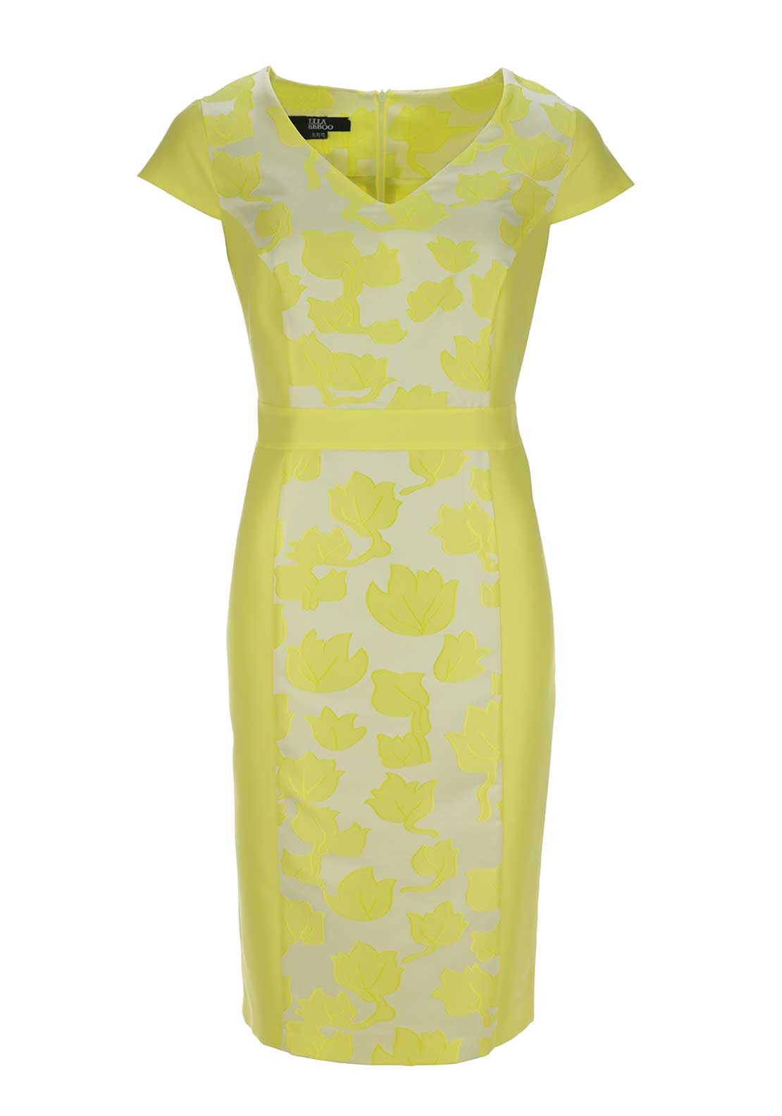 Ella Boo Floral Print Panel Cap Sleeve Pencil Dress, Yellow