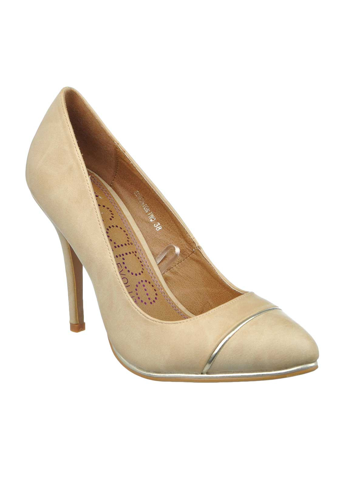 Escape Edmonton Faux Leather Pointed Toe Heeled Shoes, Beige