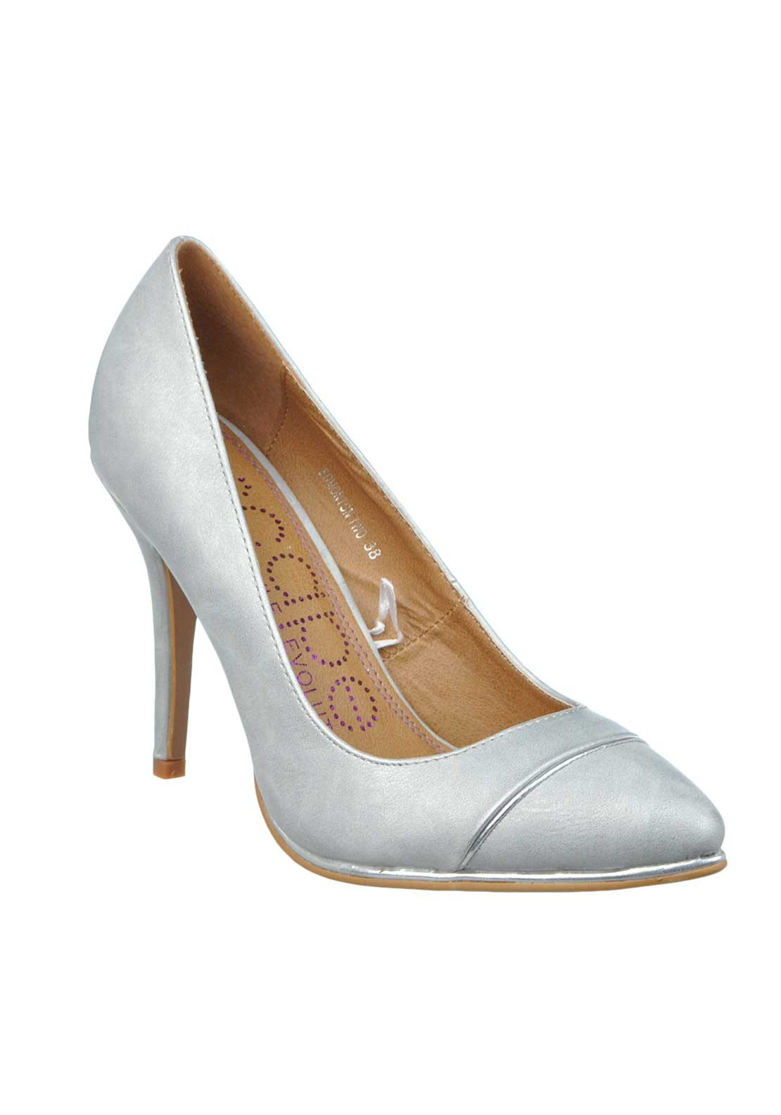 Escape Edmonton Metallic Pointed Toe Heeled Shoes, Silver