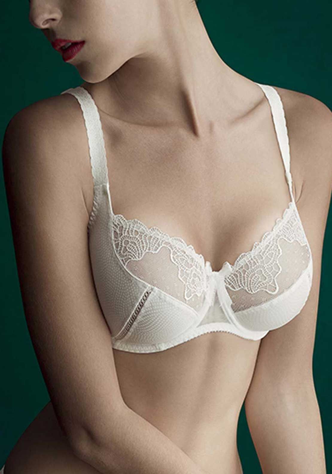 Empreinte Erin Lace Trim Underwired Bra, Naturel