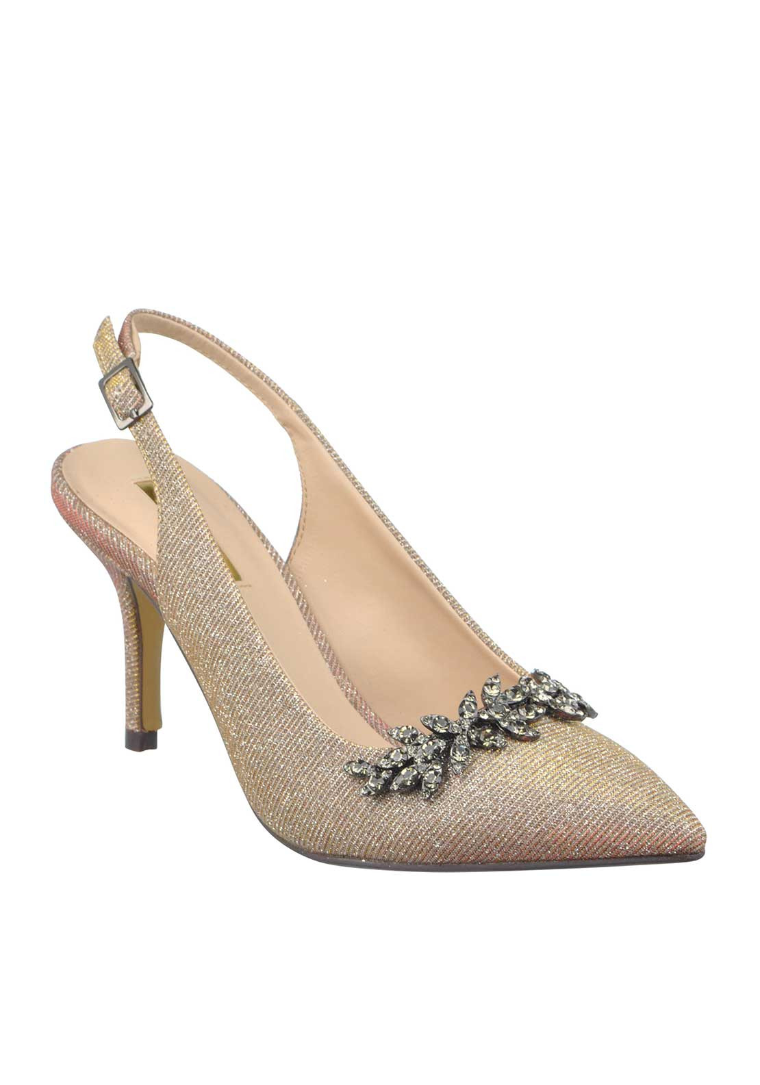 Glamour Shimmer Embellished Pointed Toe Sling Back Heeled Shoes, Nude