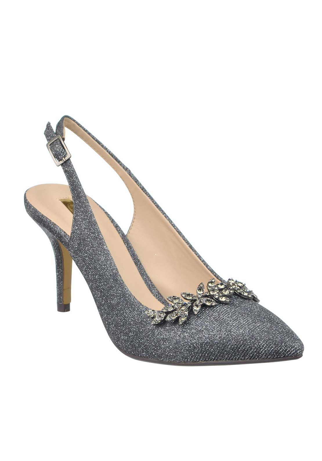 Glamour Shimmer Embellished Pointed Toe Sling Back Heeled Shoes, Pewter