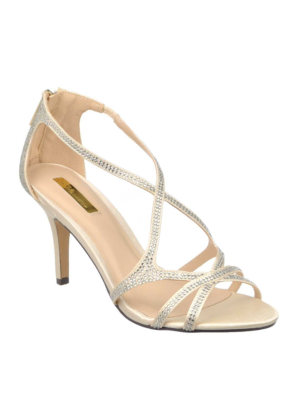 Glamour Satin Gem Embellished Strappy Heeled Sandals, Beige