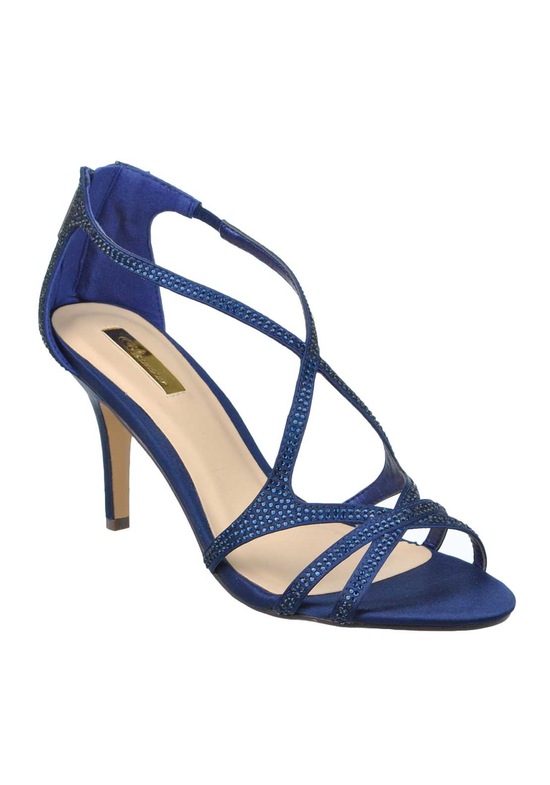 Glamour Satin Gem Embellished Strappy Heeled Sandals, Navy