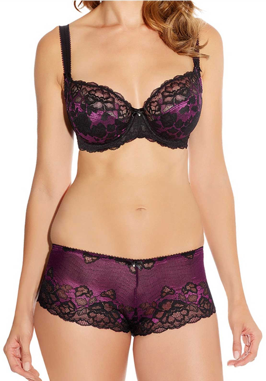 Fantasie Marianna Underwired Side Support Plunge Bra, Magenta and Black