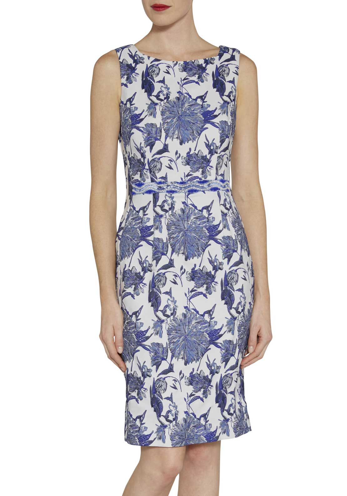 Gina Bacconi Woven Floral Print Sleeveless Pencil Dress, Blue and White