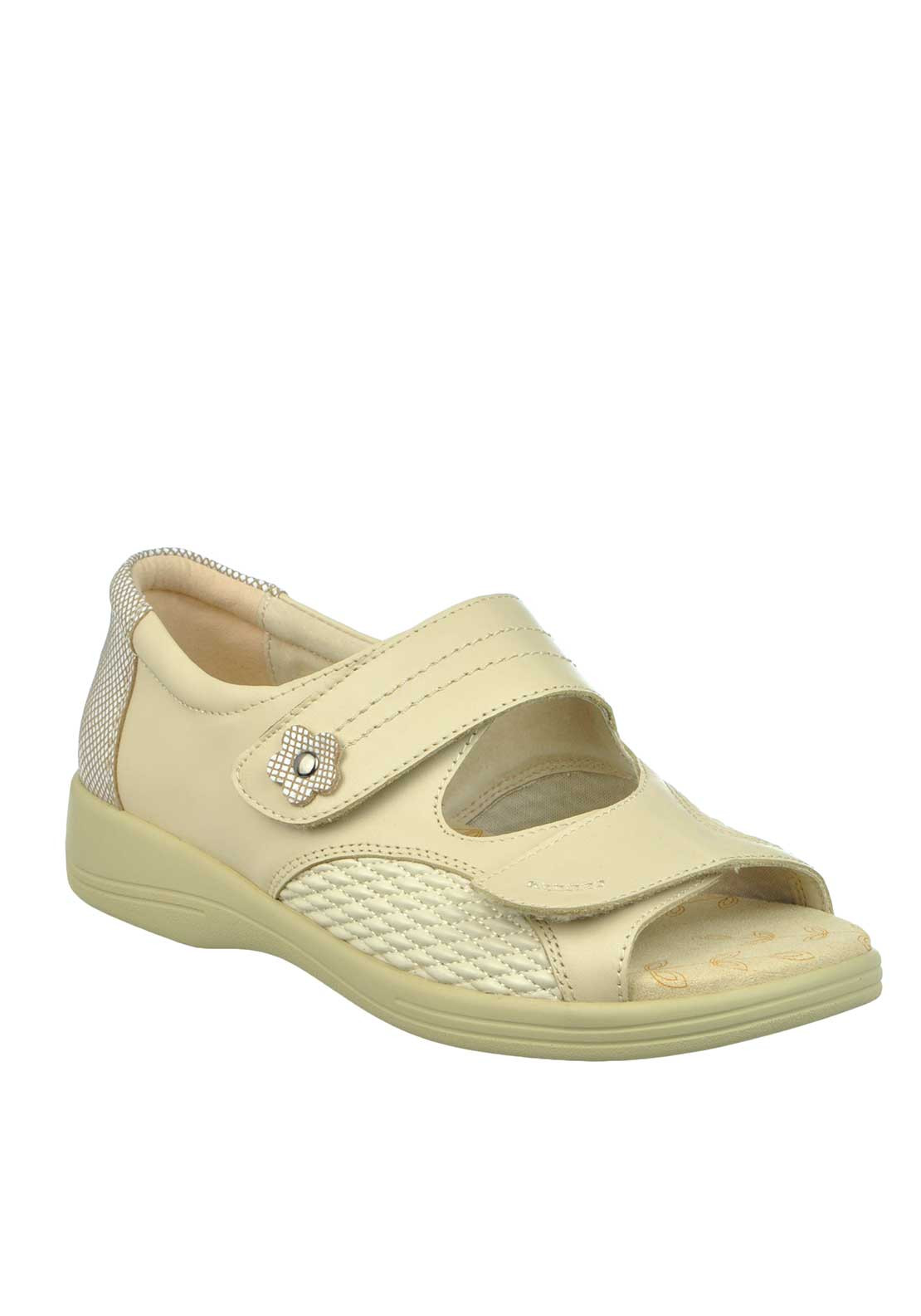 Padders + Grace Velcro Strap Sandals, Oyster