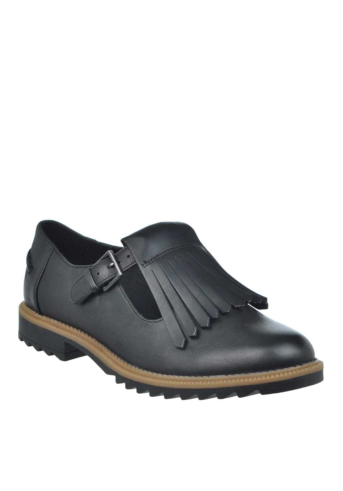 Clarks Griffin Mia Patent Leather Fringed Buckled Shoe, Black