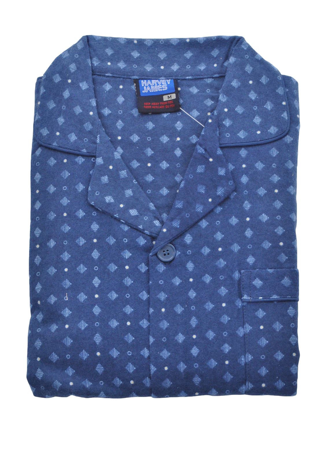 Harvey James Mens Printed Pyjamas, Navy