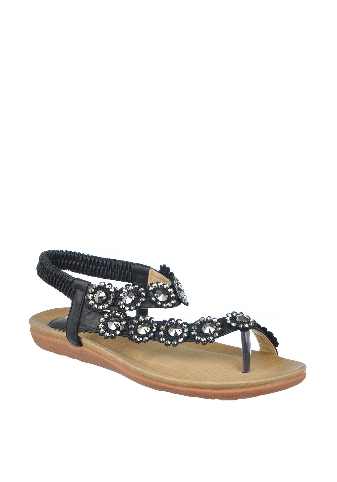 Lunar Charlotte Flower Embellished Toe Post Sandals, Black