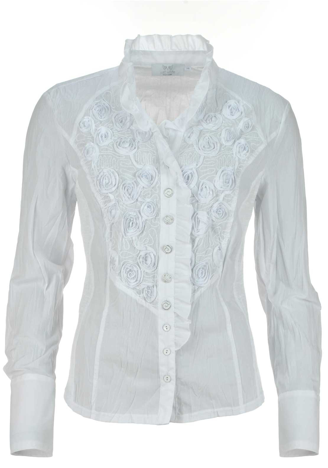 Just White Embroidered Floral Print Crushed Long Sleeve Blouse, White