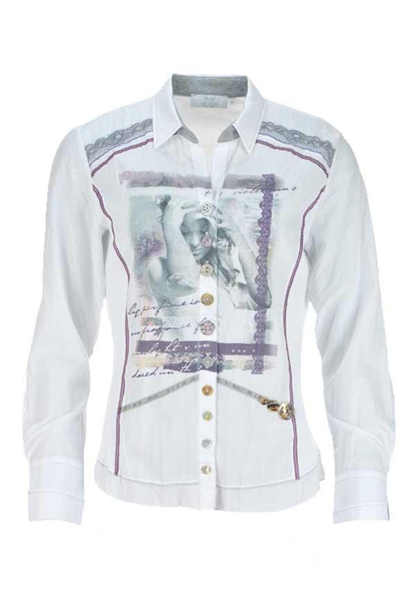 Just White Photographic Print Crushed Long Sleeve Blouse, White Multi