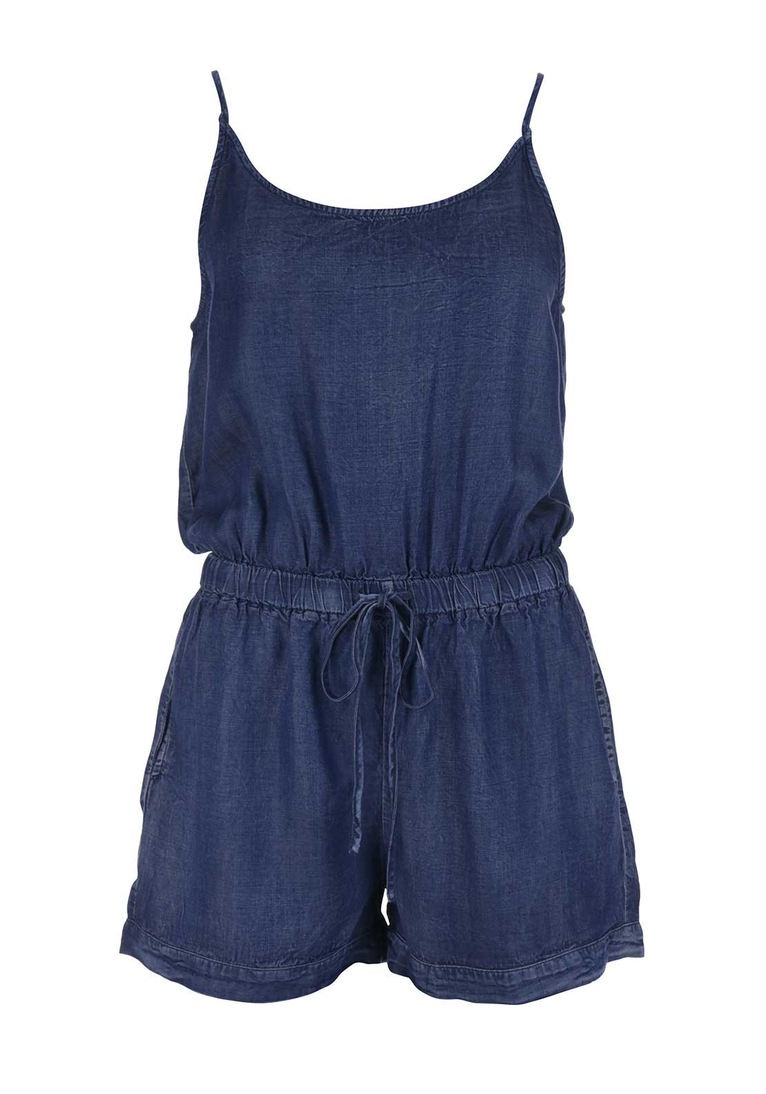 Glamorous Strappy Denim Playsuit, Blue