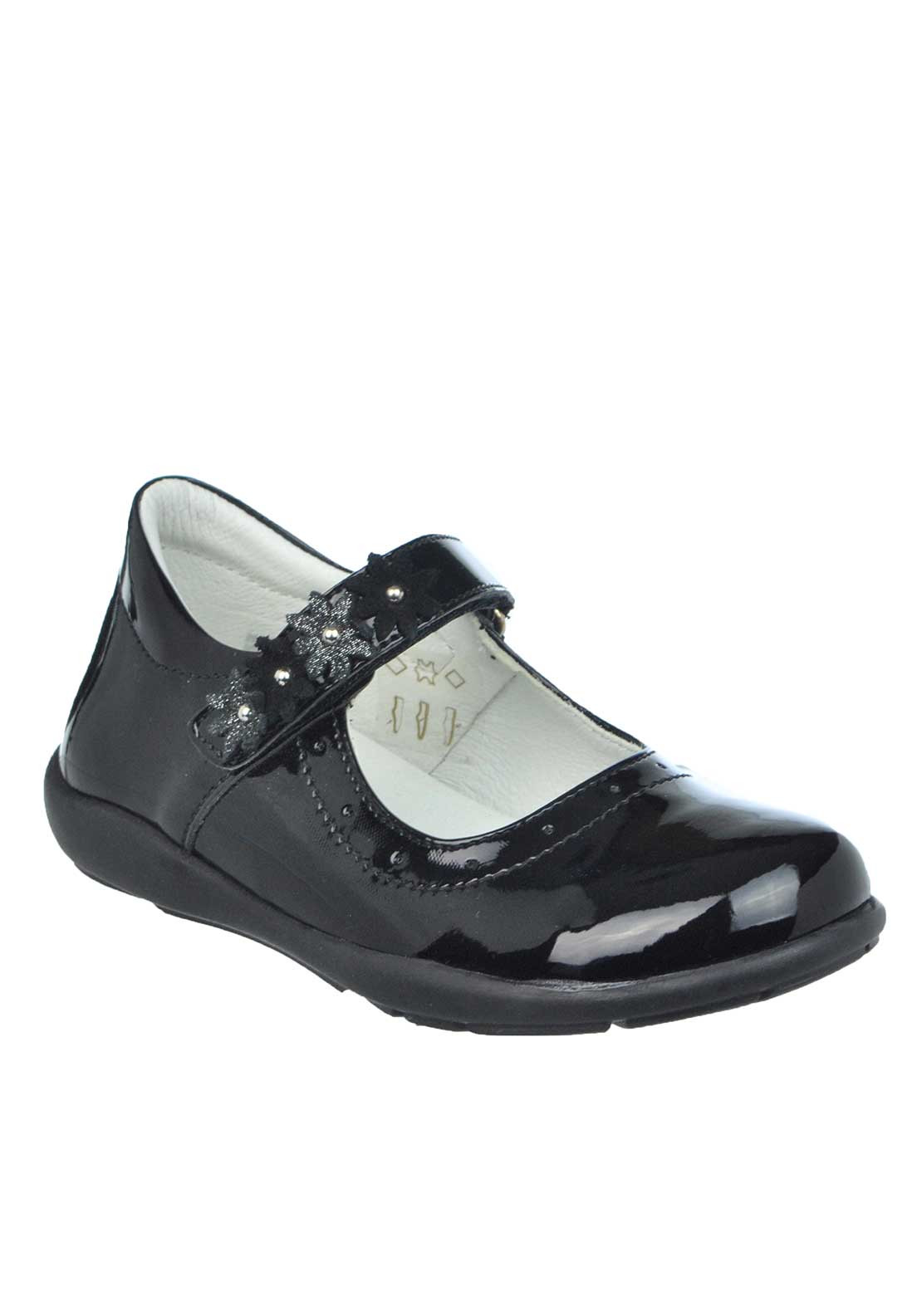 Primigi Girls Kya Patent Flower Velcro Strap Shoes, Black