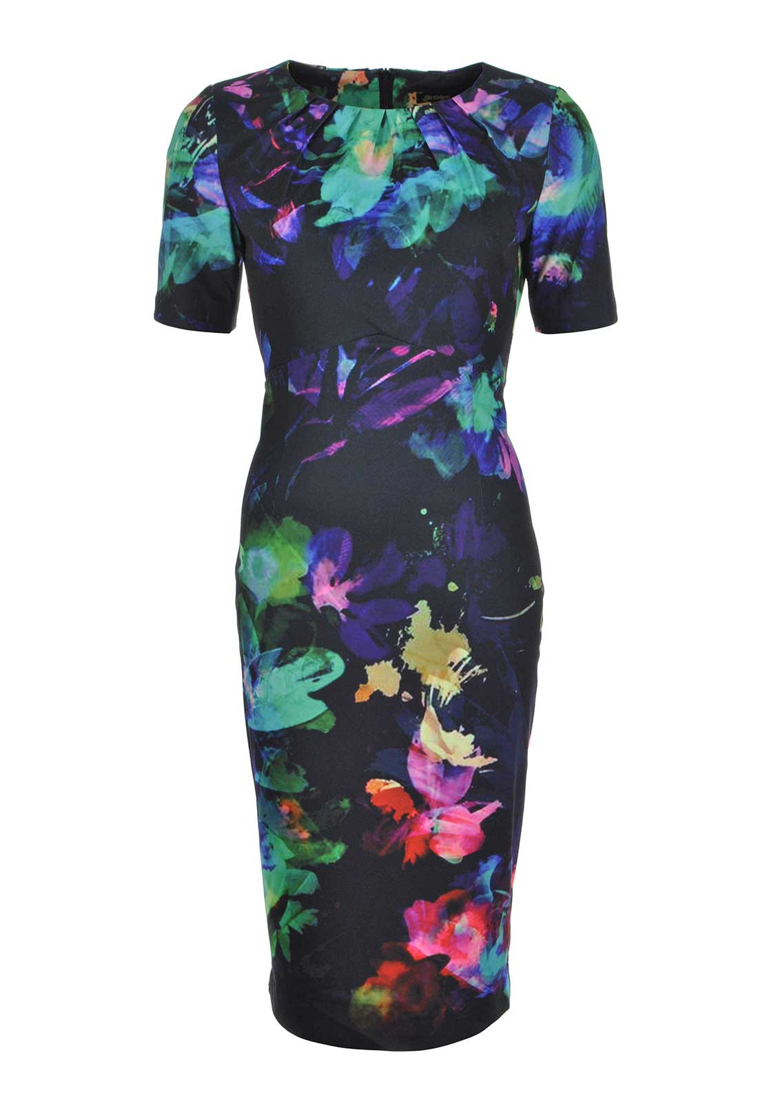 Lila Calypso Half Sleeve Watercolour Print Midi Pencil Dress, Black Multi