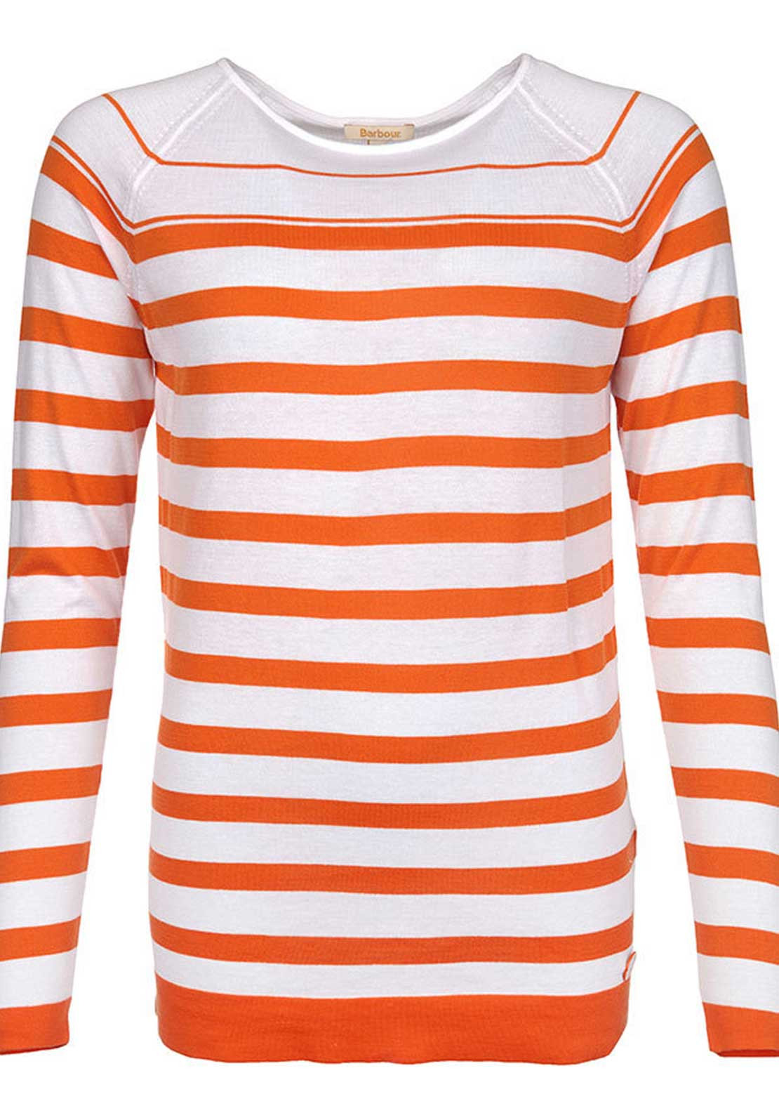 Barbour Womens Chock Striped Fine Knit Sweater Jumper, White and Orange
