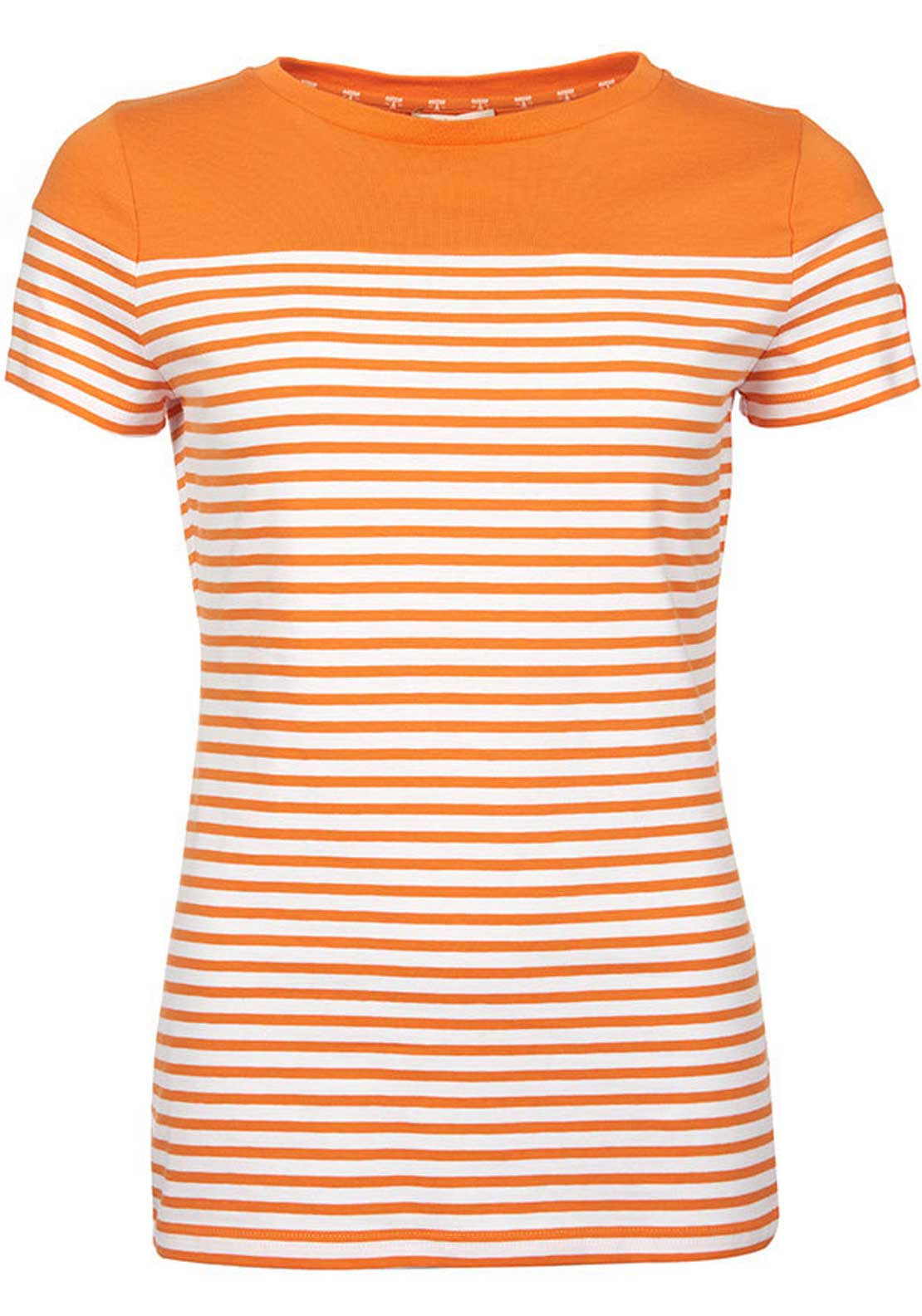Barbour Womens Teesport Striped Short Sleeve T-Shirt, Orange and White