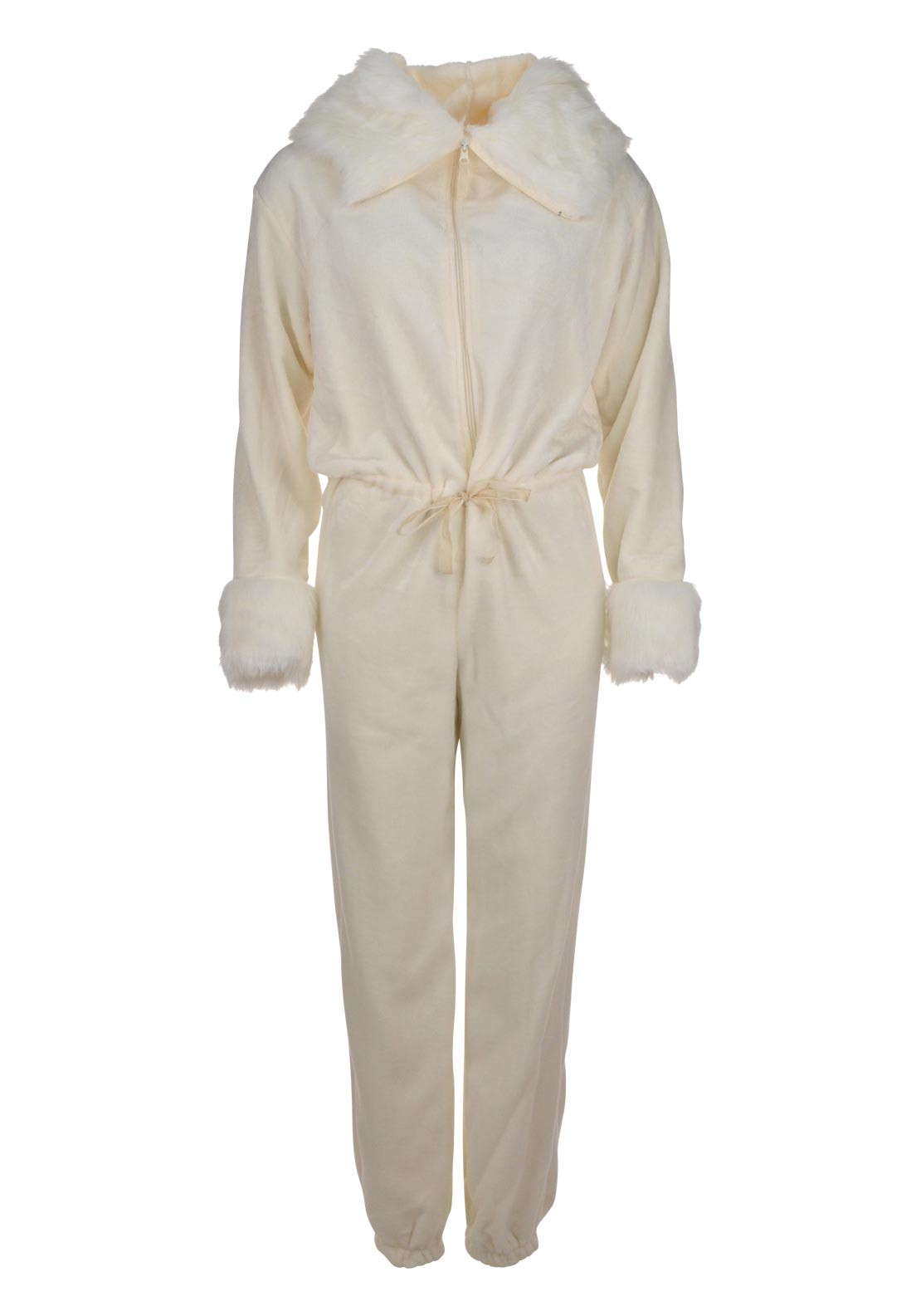 Inspirations Luxury Faux Fur Trimmed Hood Onesie, Ivory