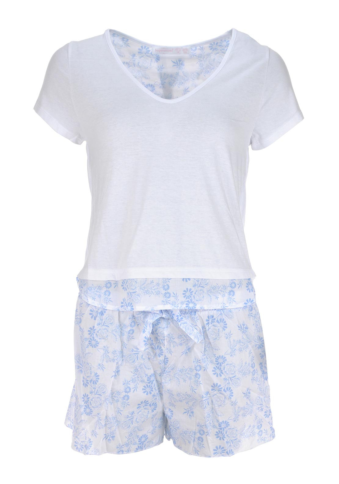 Inspirations Short Sleeve Pyjama Top and Shorts Set, White and Blue