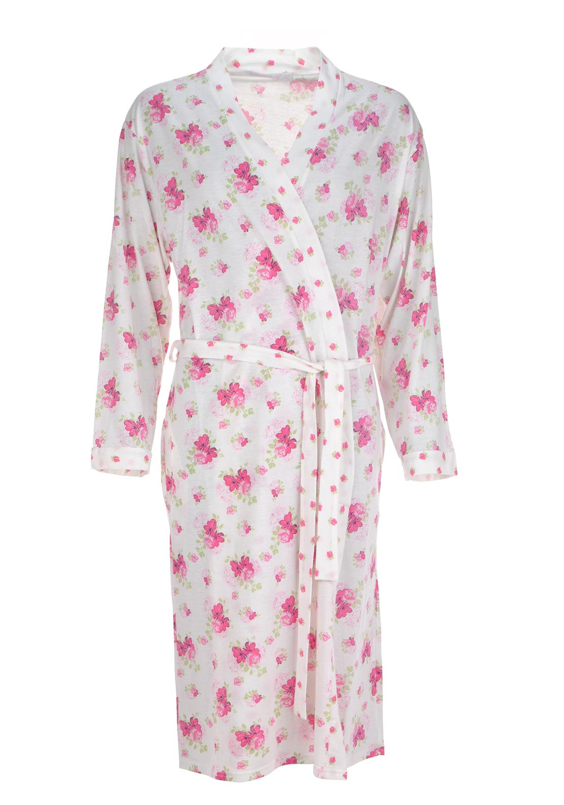 Inspirations Floral Print Robe, Pink and White