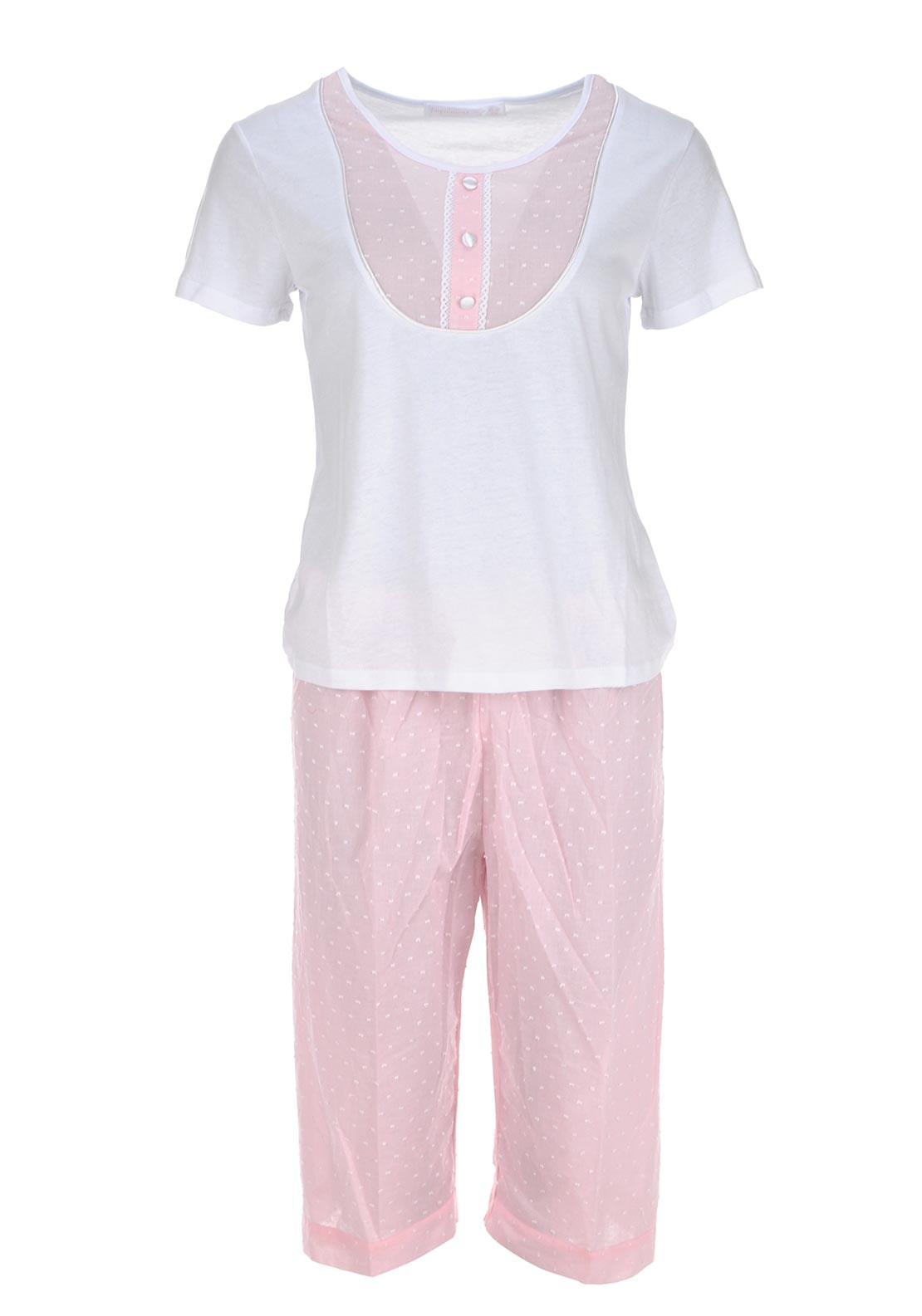 Inspirations Button Detail Pyjama Set, Pink and White