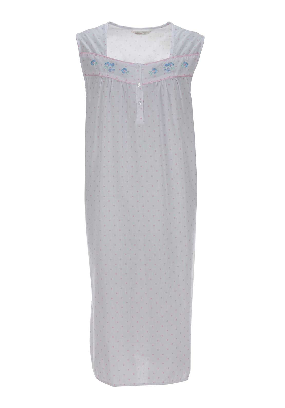 Lady Selena Spot Print Sleeveless Nightdress, Pink