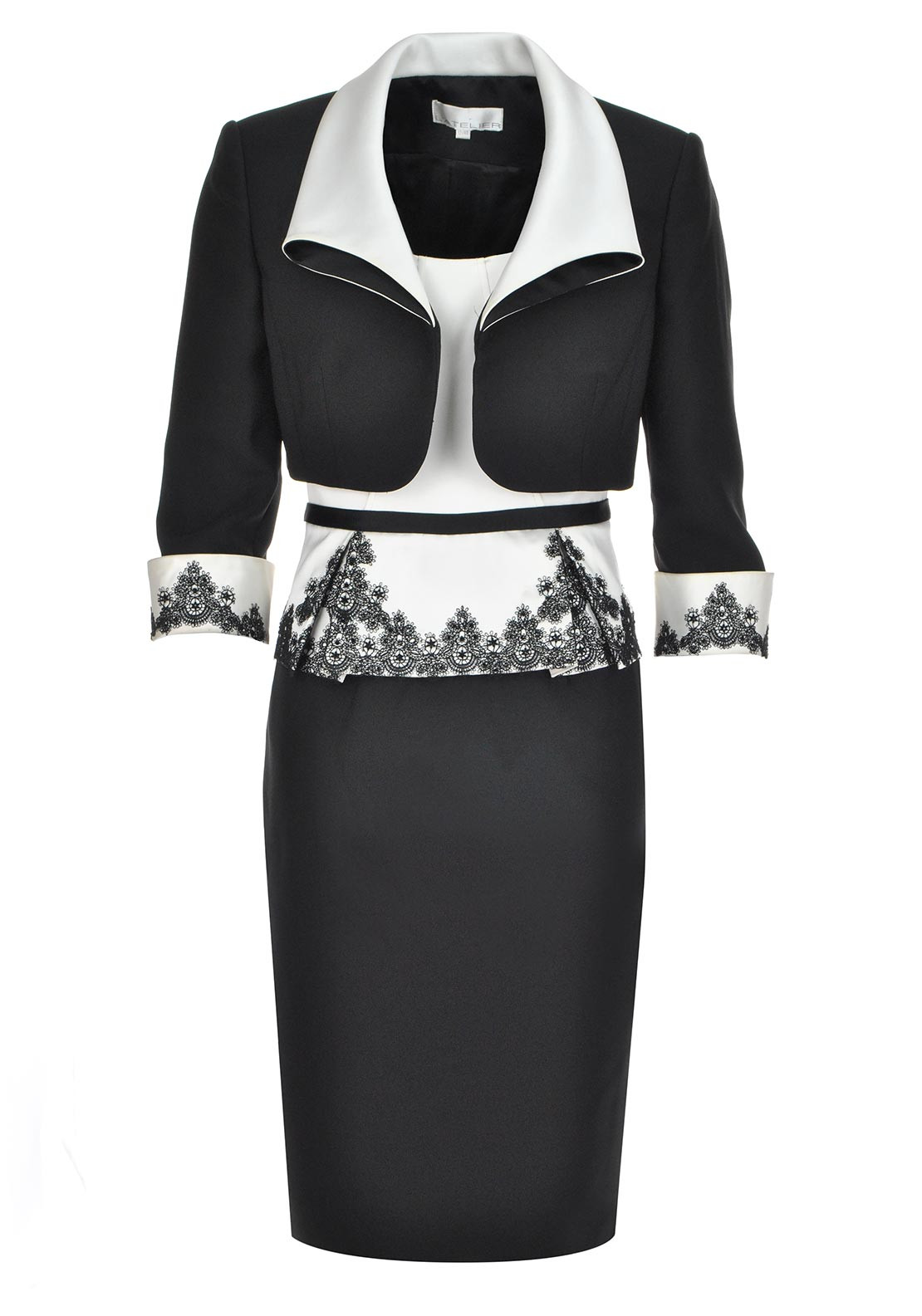 L'Atelier Occasion Wear Lace Embellished Dress and Jacket, Black and Ivory