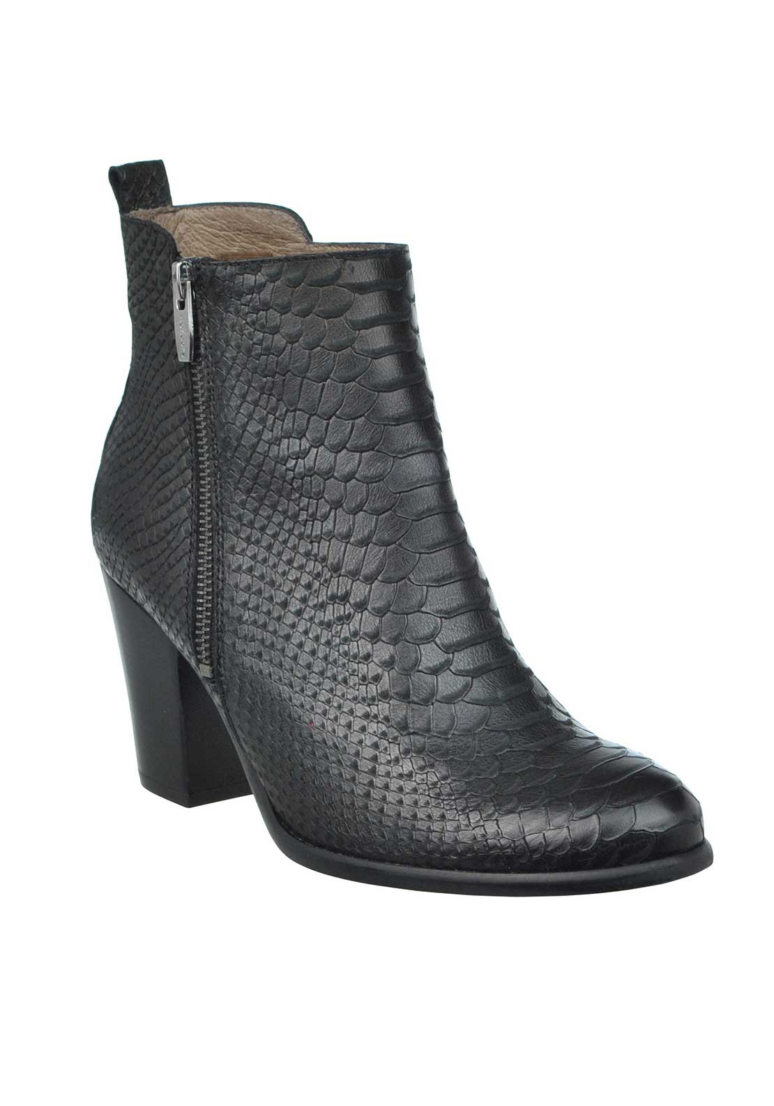 Wonders Leather Reptile Print Heeled Ankle Boots, Black