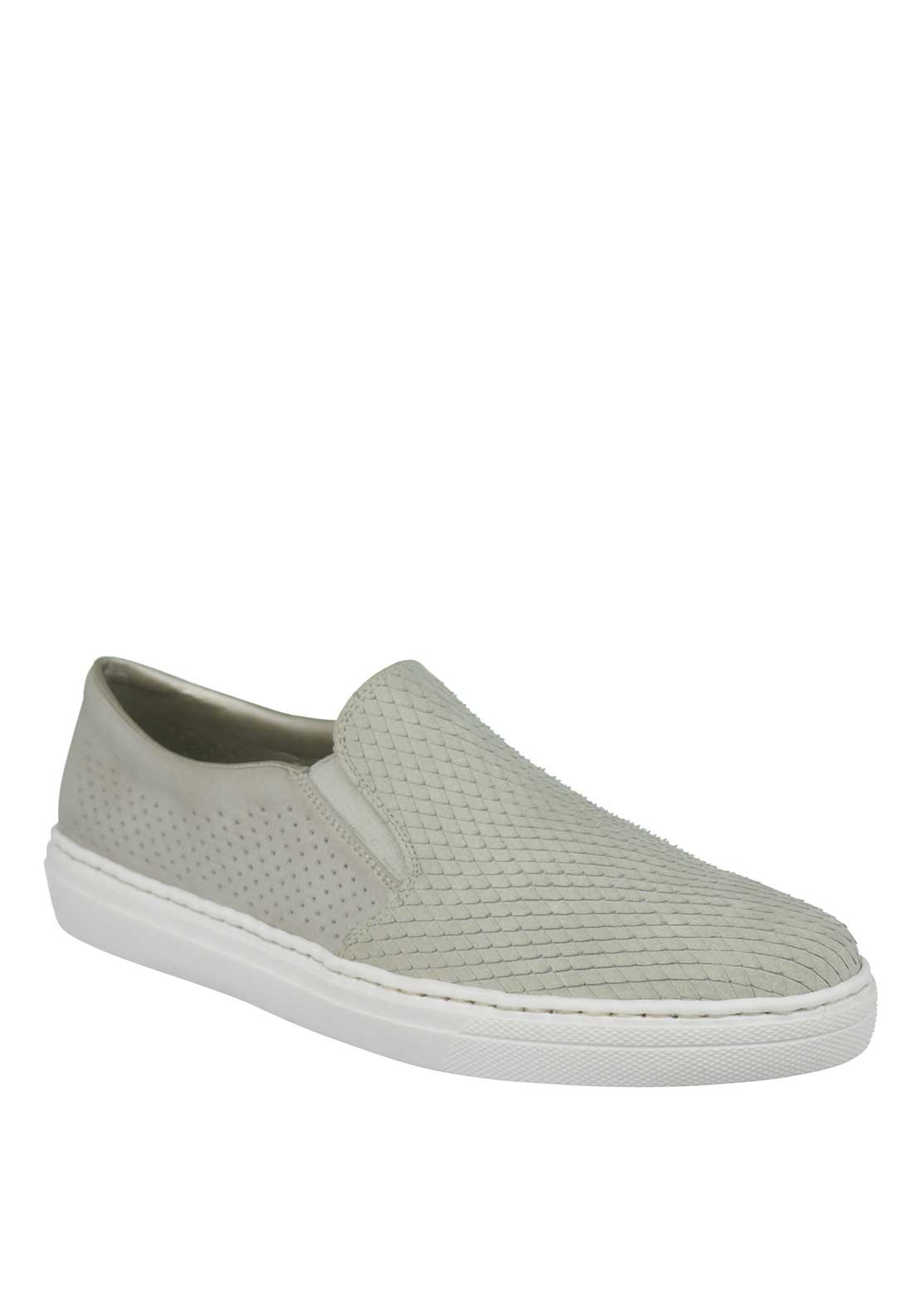 Rieker Women Leather textured Slip on Trainers, Grey