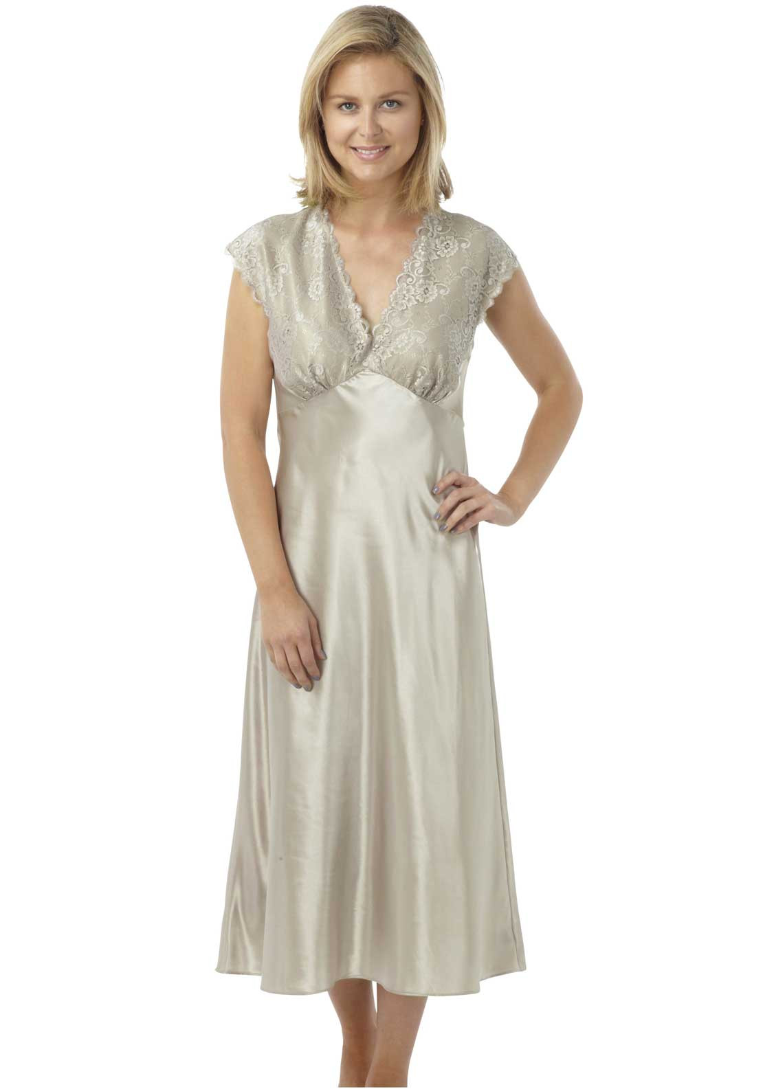 Indigo Sky Lace Trim Satin Nightdress, Mocha