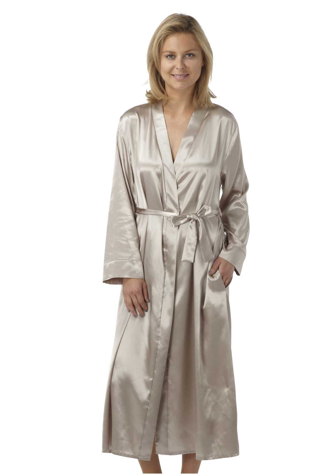 Indigo Sky Lace Trim Satin Dressing Gown, Mocha