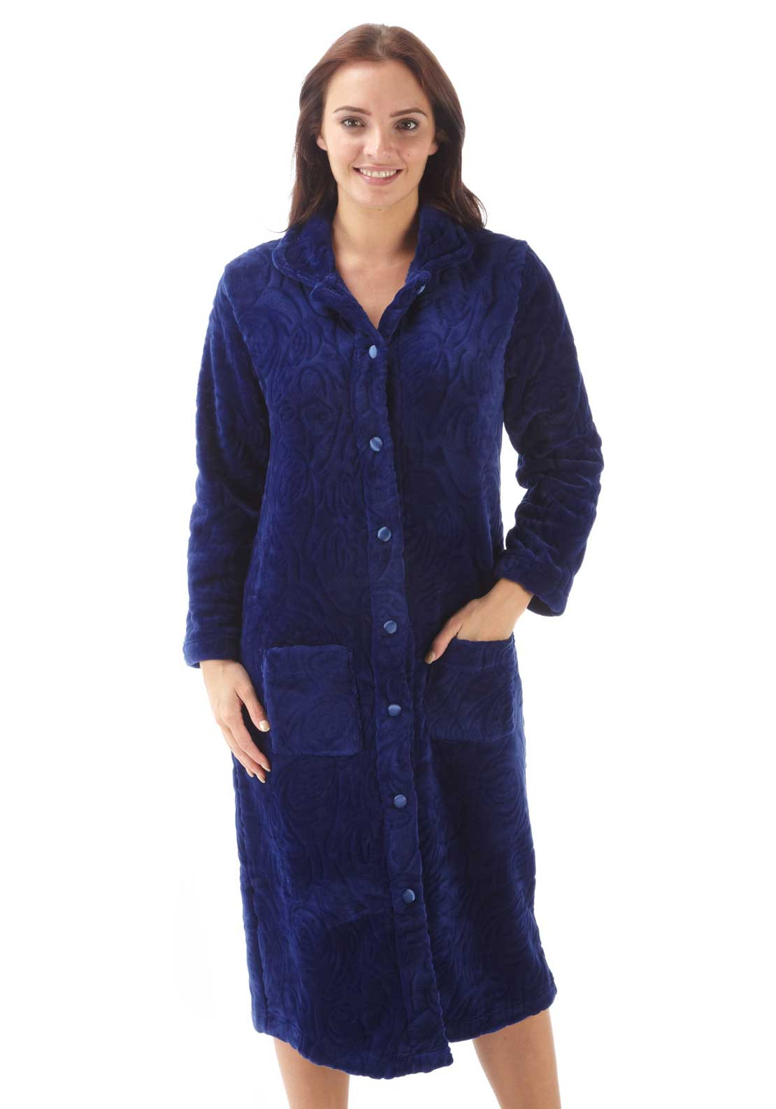 Marlon Button Front Embossed Print Dressing Gown, Navy