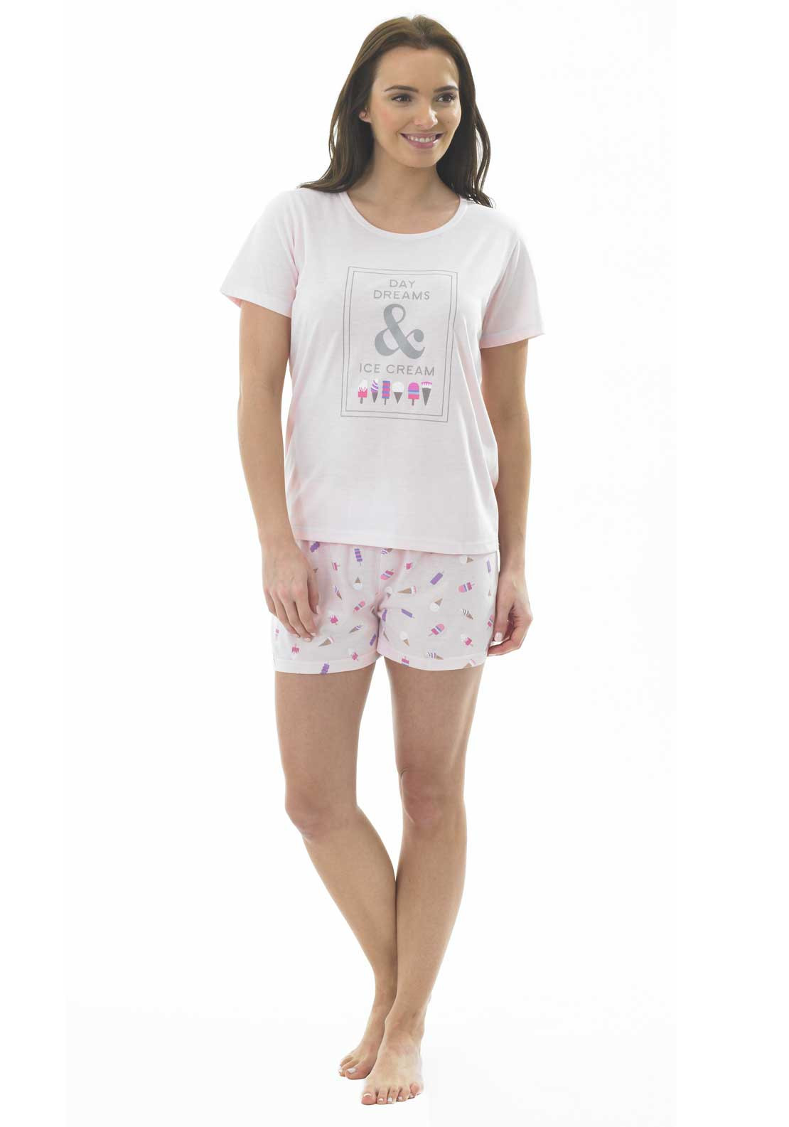 Indigo Sky Ice Cream Print Shorts Pyjama Set, Pink