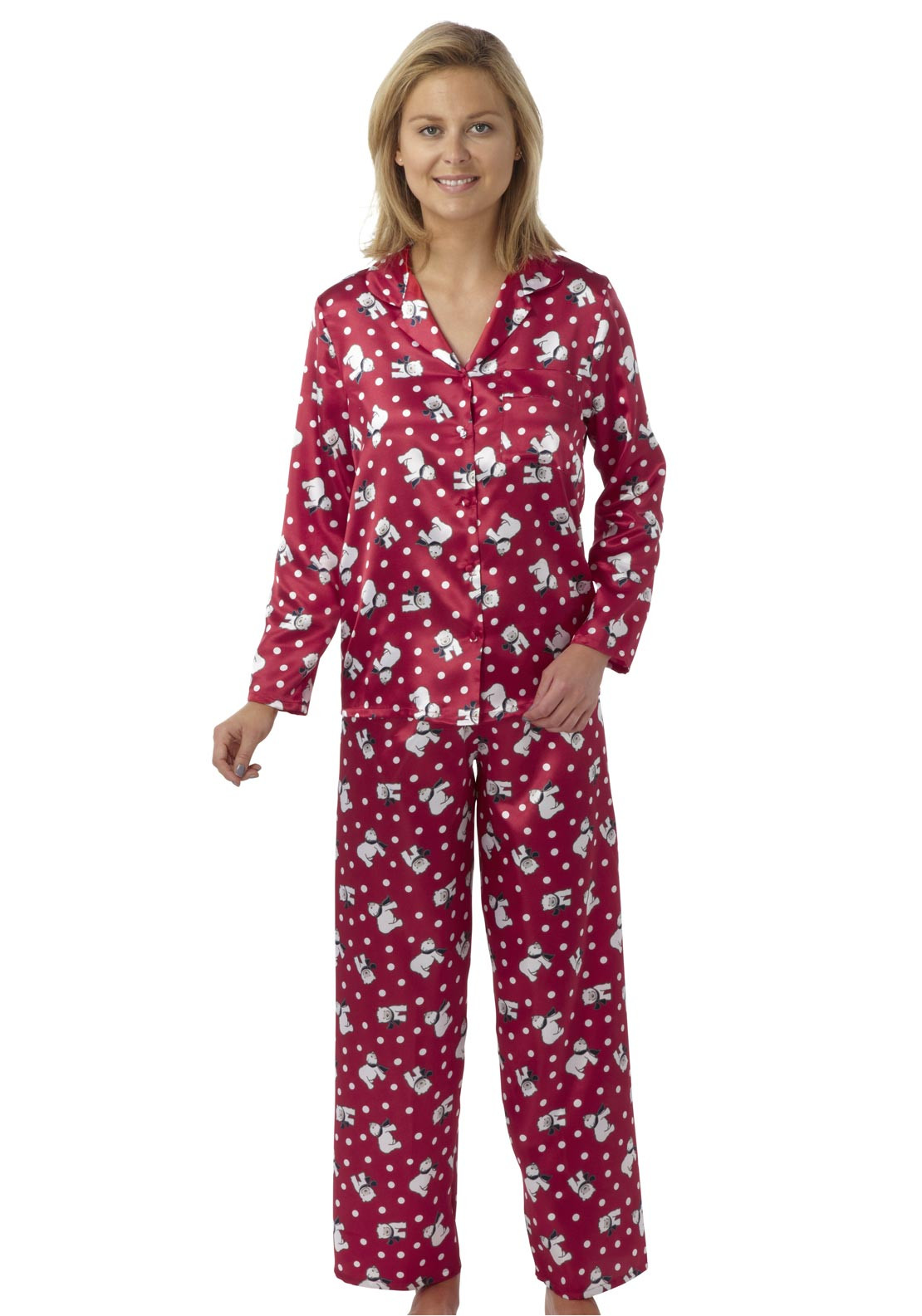 Indigo Sky Polar Bear Satin Pyjamas, Red