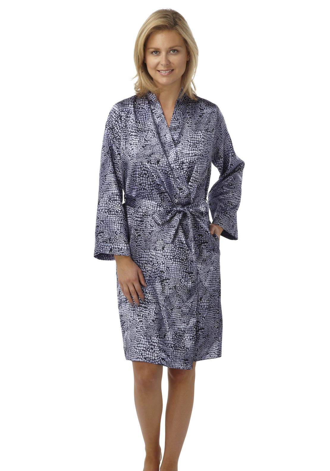 Indigo Sky Geometric Print Satin Dressing Gown, Blue and Navy