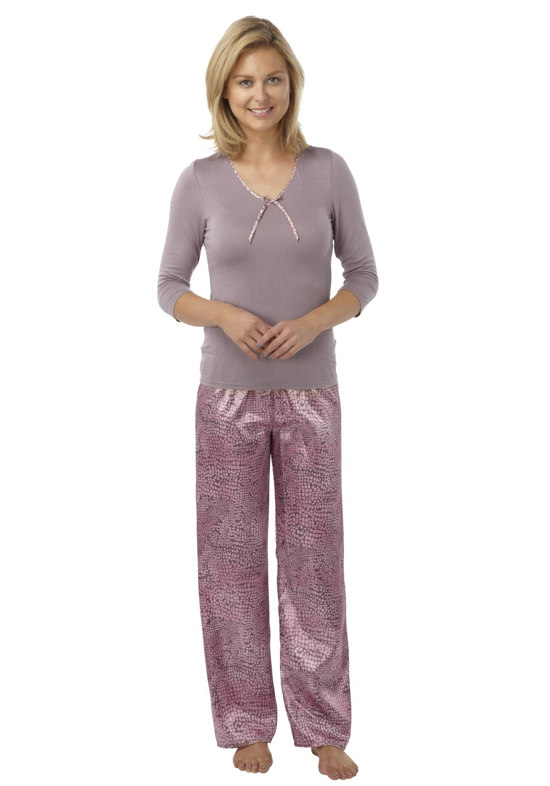 Indigo Sky Top and Geometric Print Bottoms Pyjamas, Mink and Pink
