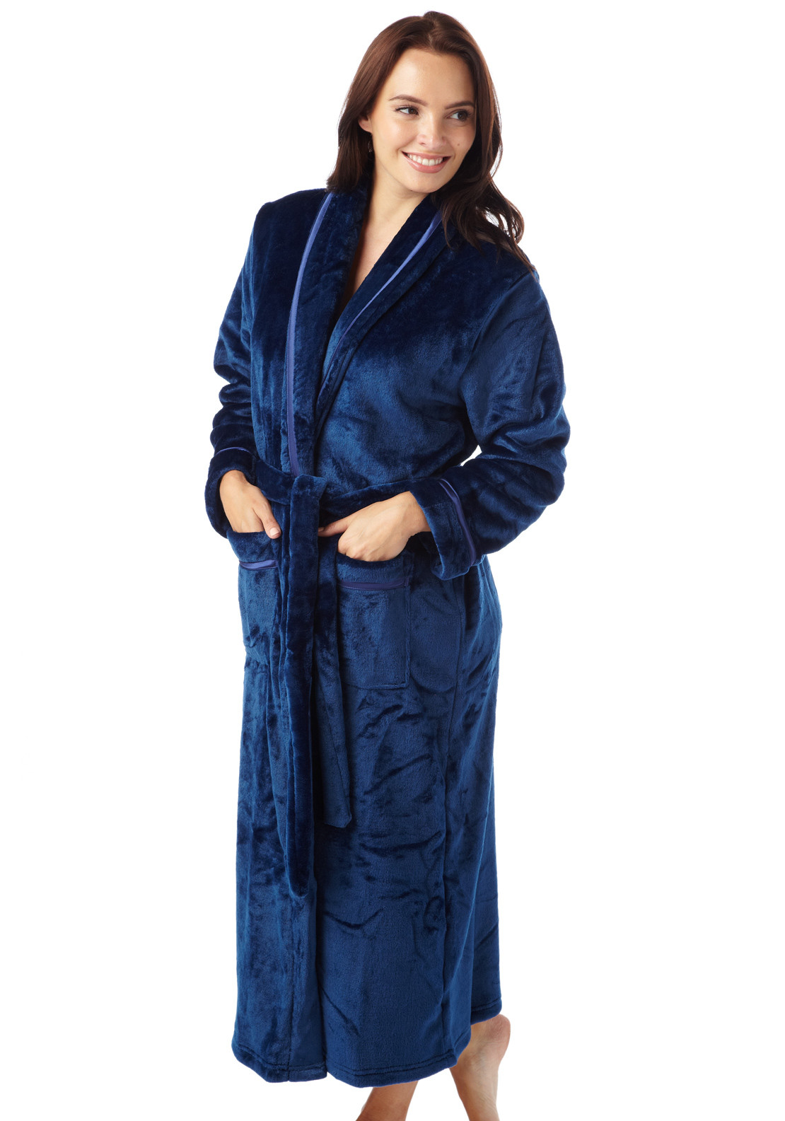 Indigo Sky Satin Trim Terry Dressing Gown, Navy