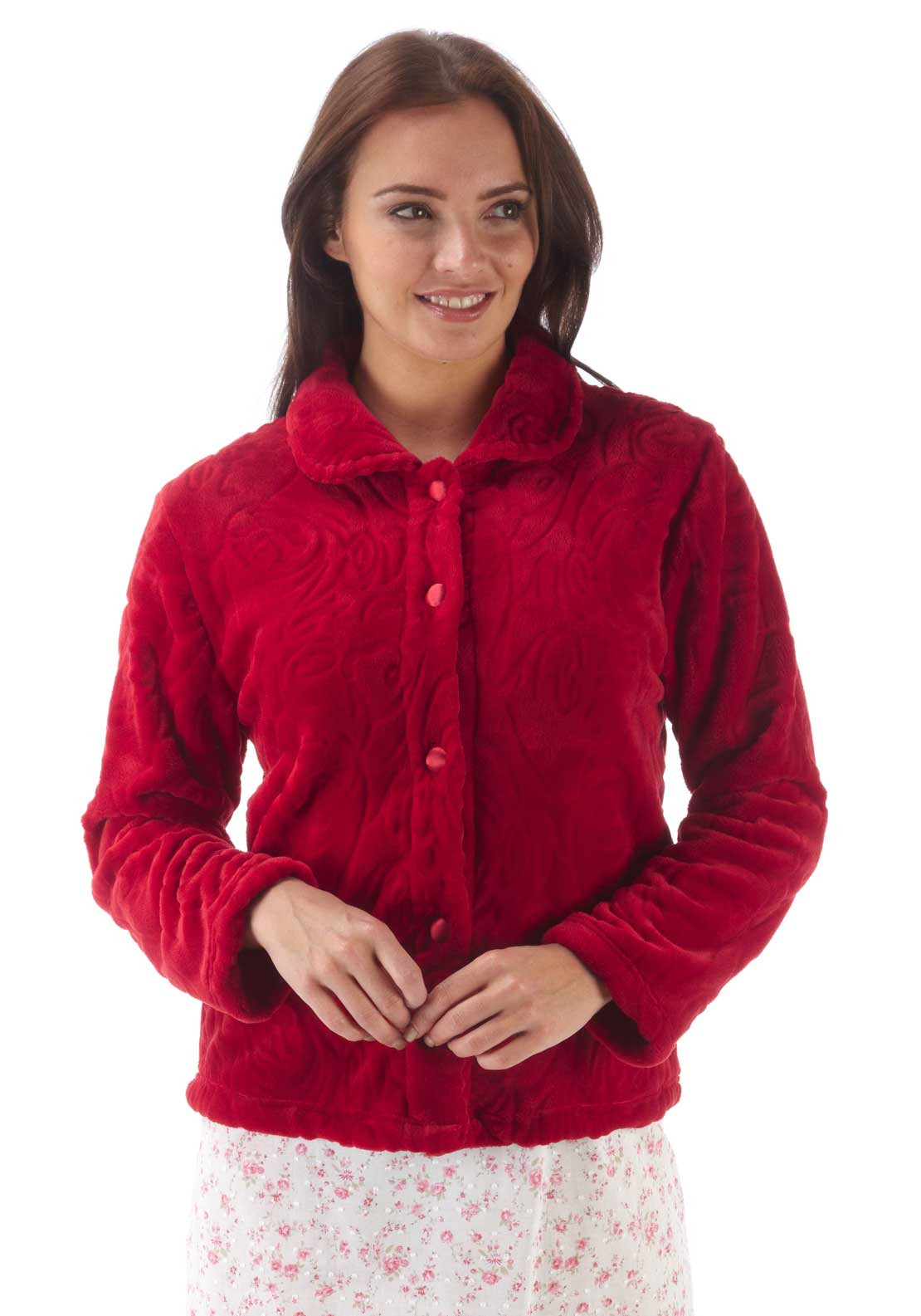 Marlon Button Front Embossed Print Fleece Bed Jacket, Red
